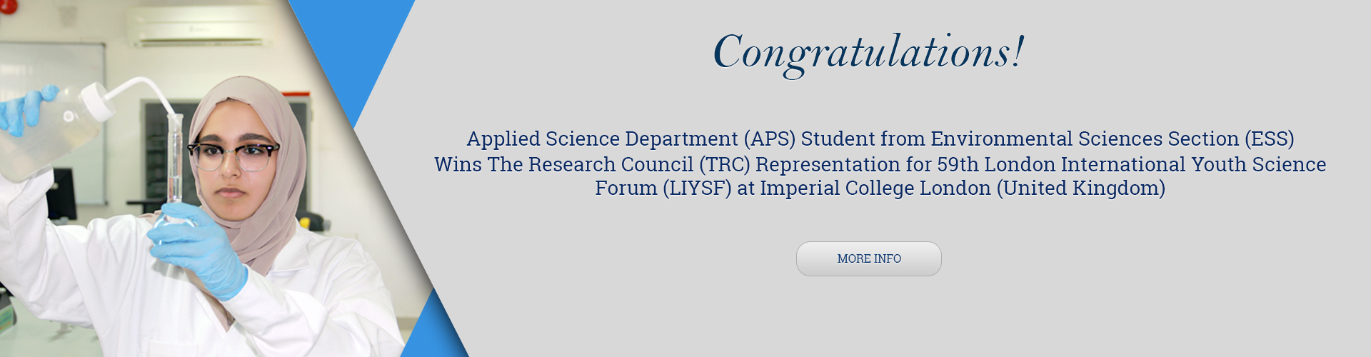 Applied Science Department (APS) Student from Environmental Sciences Section (ESS) Wins The Research Council (TRC) Representation for 59th London International Youth Science Forum (LIYSF) at Imperial College London (United Kingdom)