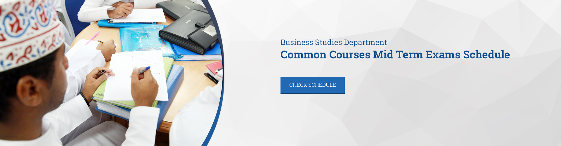 Business Studies Department Common Courses Mid Term Exams Schedule