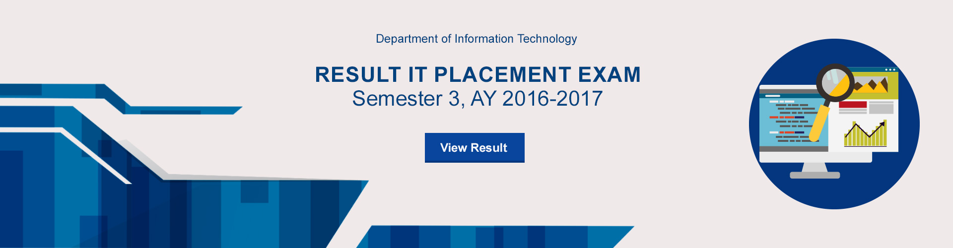 Result IT Placement Exam Semester 3, AY 2016-2017