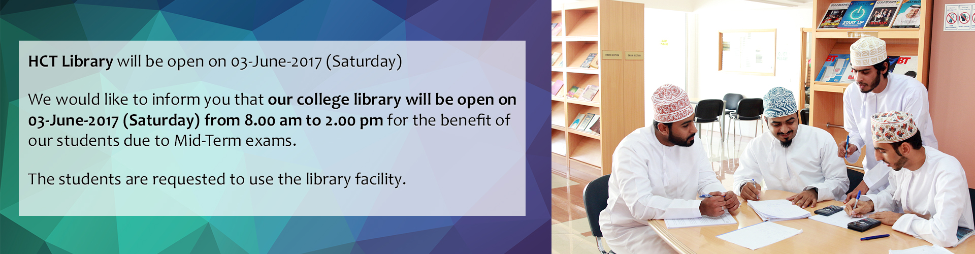 HCT Library will be open on 03-June-2017 (Saturday)