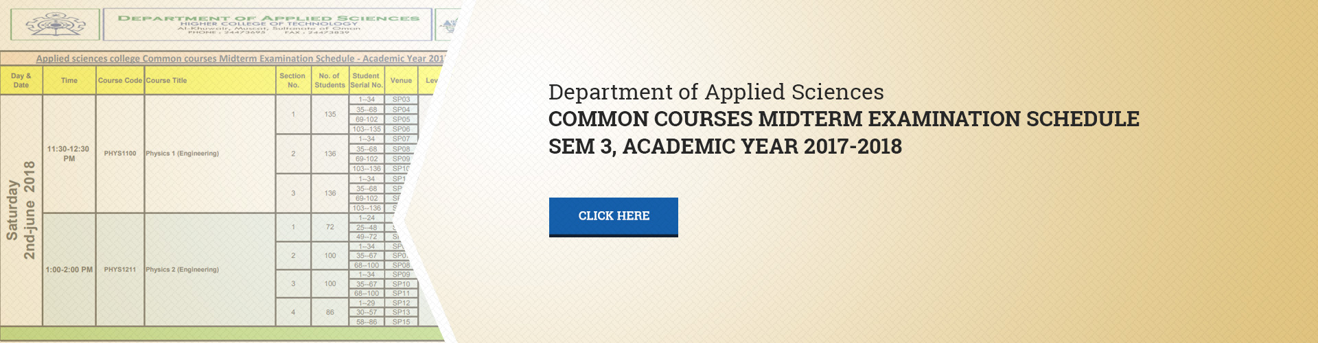 Applied Sciences Department - Common Courses Midterm Examination, Semester 3 AY 2017-2018