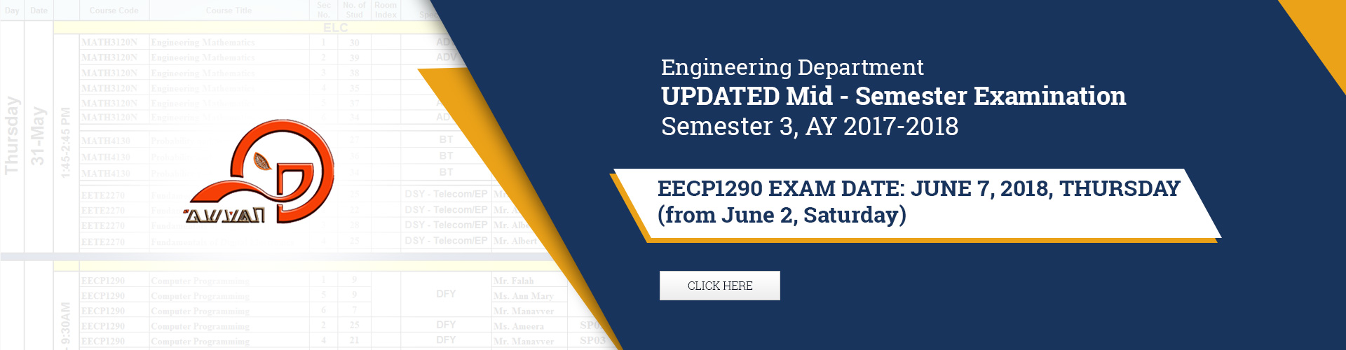 Engineering Department - Common Courses Midterm Examination, Semester 3 AY 2017-2018