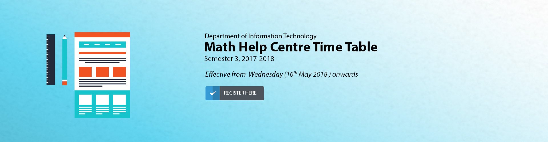 IT Department - Math Help Centre Timetable - Sem 3, Ay 2017-2018