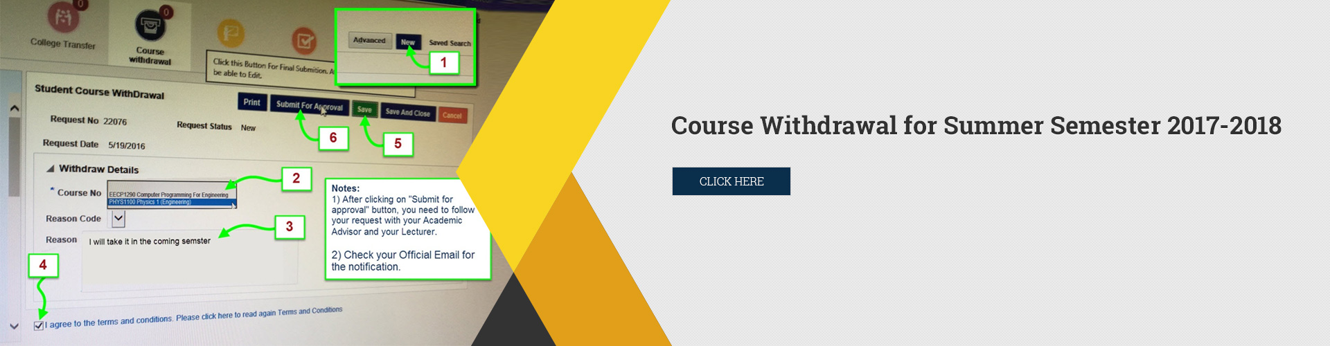 Course Withdrawal for Summer Semester 2017-2018