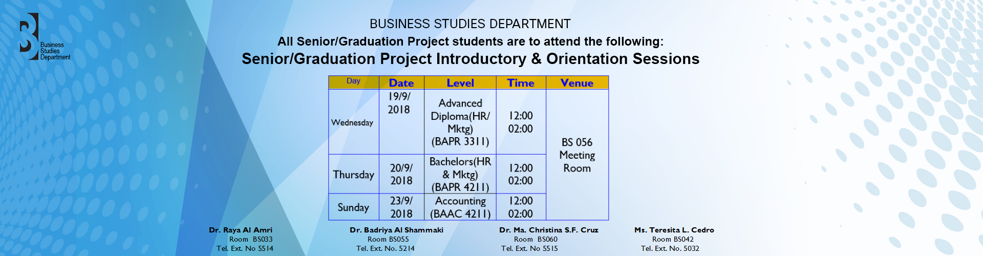 Business - RIENTATION FOR SENIOR/GRADUATION PROJECT