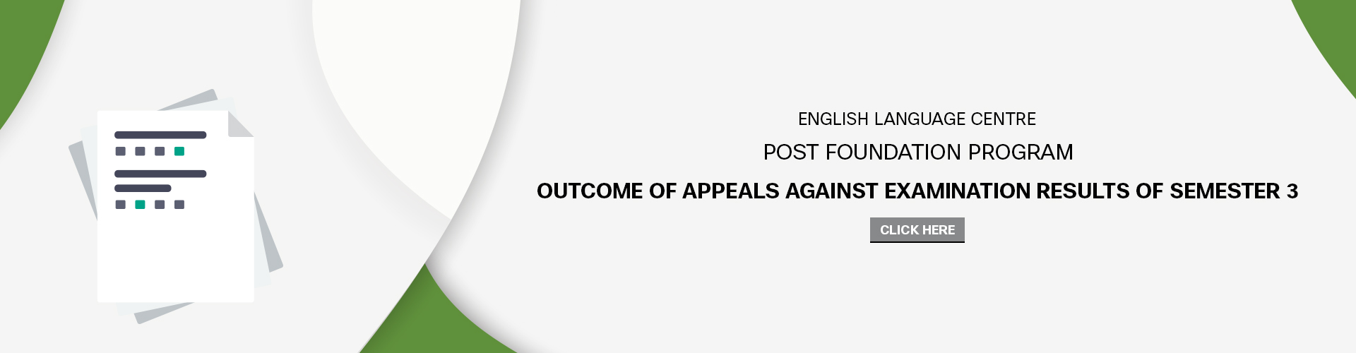 English Language Center - Outcome of Student Appeals against Examination Results -Semester 3 AY(2017-2018)