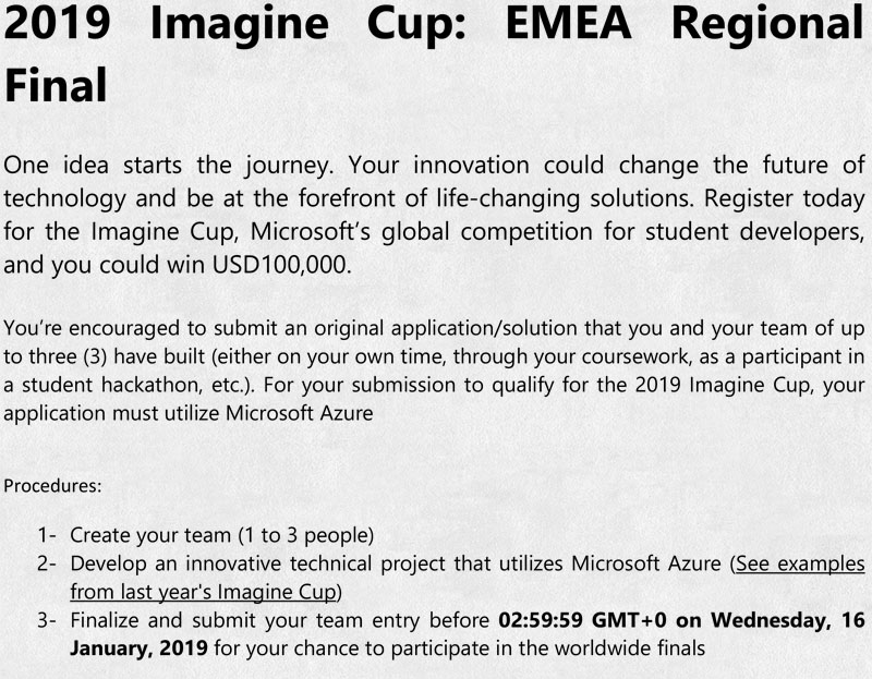 higher college of technology imagine cup 2019 requirements terms