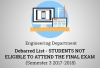 Engineering Department - Debarred List (Students NOT eligible to attend the Final Exam Semester 3 2017-2018)