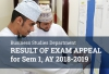 Business Department - Result of Exam Appeal