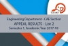CAE Section - Appeal Results Semester 1 (List 2), AY 2017-2018