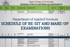 Applied Sciences Departmental - Schedule of Make-up and Re-sit Examinations