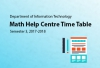IT Department - Math Help Centre Timetable for Sem 3, AY 2017-2018