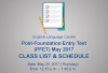 ELC - Post Foundation Entry Test May 2017 Class List and Schedule