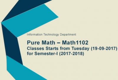 IT Department - Pure Math – Math1102 Classes and Manual Registration