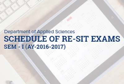 Applied Sciences Department - Schedule of Re-sit Exams