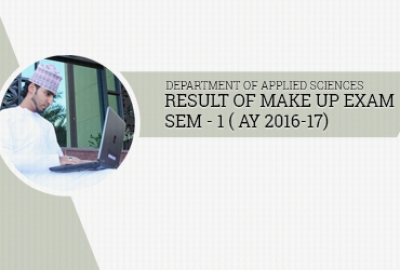 Applied Sciences Department - Results of Make-up Exam Sem1 AY 2016-2017