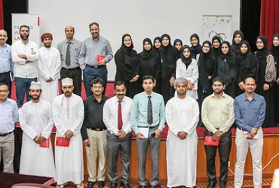 "Department of Applied Sciences along with Research and Consultancy Committee (RCC) - HCT conducted an orientation workshop for the students and staff of HCT on the ""Falling Walls Lab"" competition to be conducted in Oman on 7-May-2018"