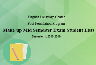 English language Center - Make-up Mid Semester Exam Student Lists