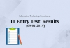 IT Entry Test Results for 9th January 2019
