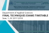 Applied Sciences Department - Final Techniques Exams Timetable Sem. 1, AY 2017-2018