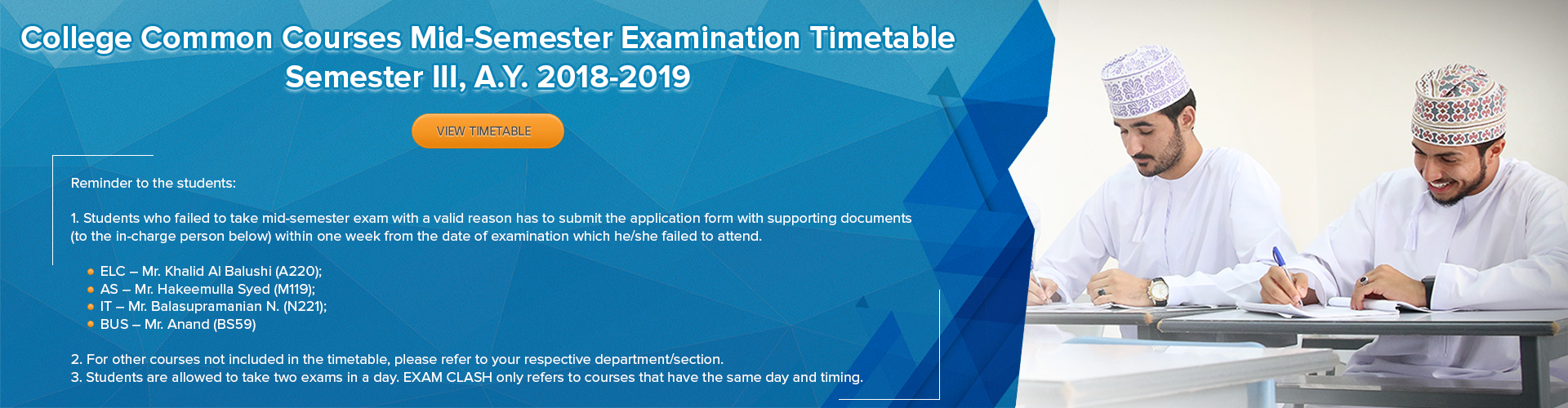 College Common Courses Mid-Semester Examination Timetable Semester III, A.Y. 2018-2019