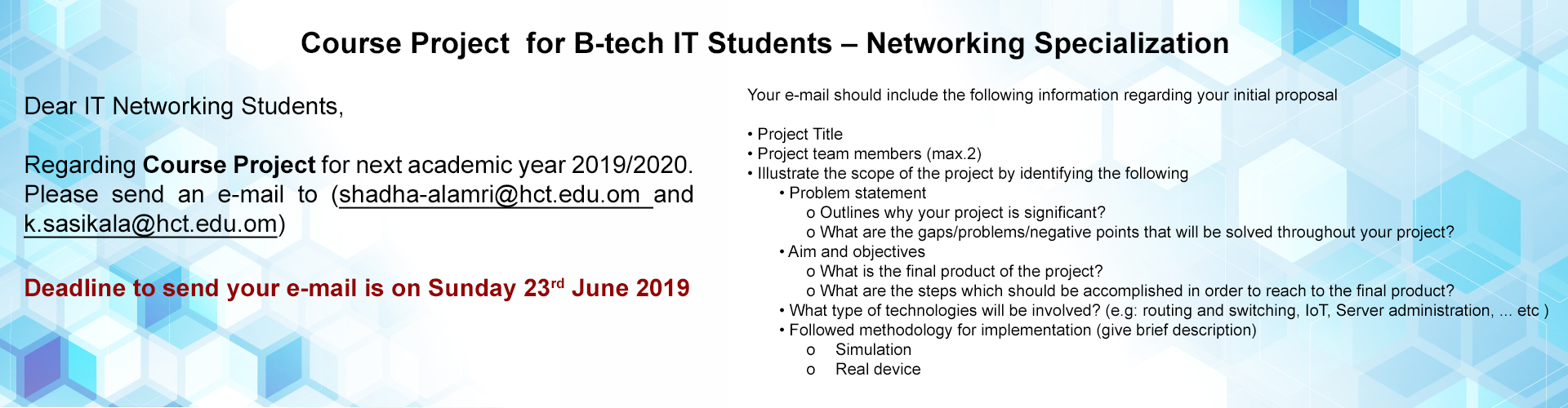 Course Project announcement for B-tech IT Students – Networking Specialization