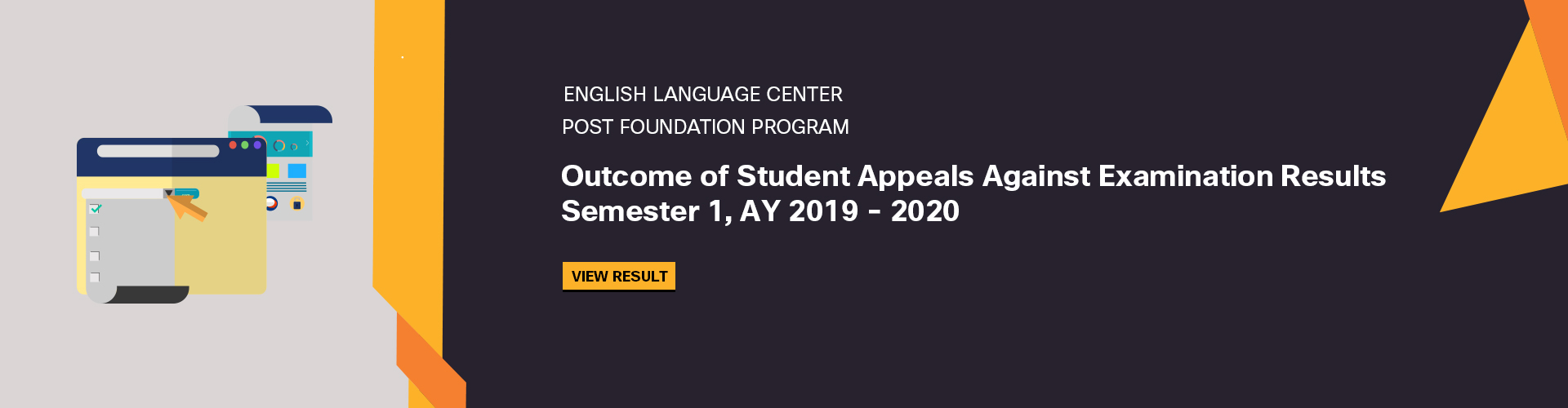 ELC Post Foundation Program- Outcome of Appeals Against Examination Results of Semester 1, 2019-2020