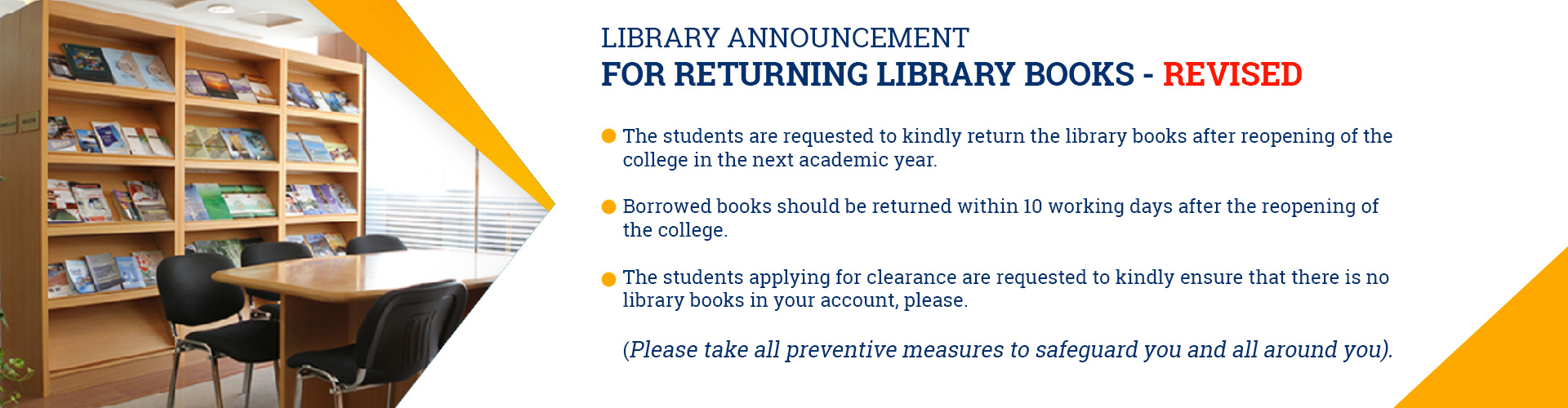Library Announcement for Returning Library Books (Revised)