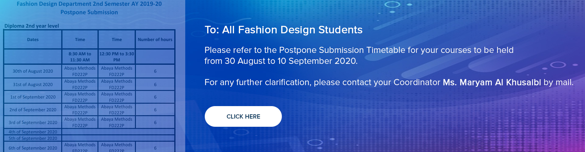Fashion Design Department - 2nd Semester AY 2019-20 Postpone Submission