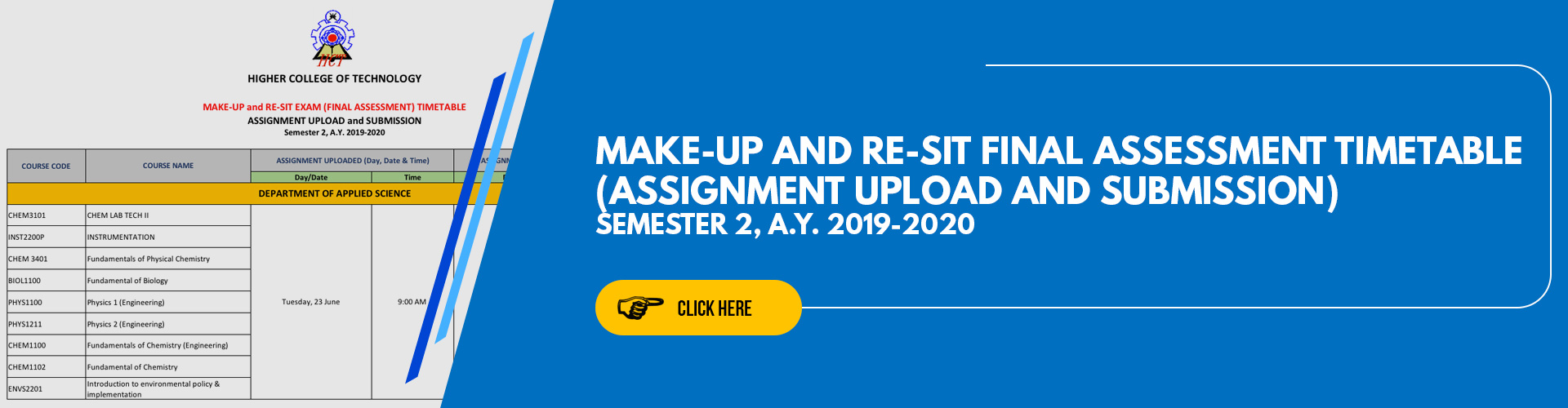 Make-up and Re-Sit Final Assessment Timetable (Assignment upload and submission) Semester 2, A.Y. 2019-2020
