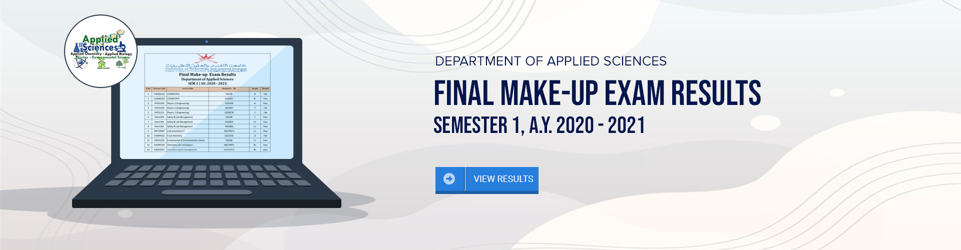 Applied Sciences Department - Final Make-up Exam Results. Semester 1 AY 2020-2021