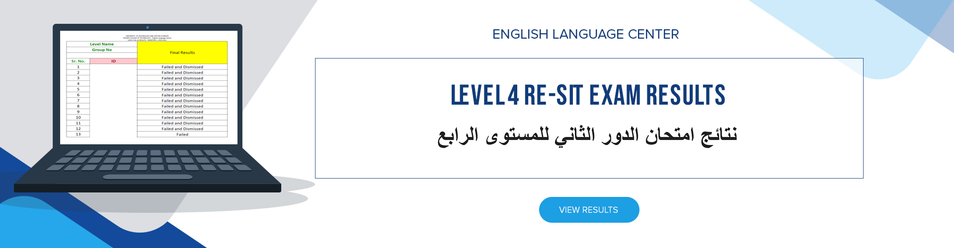 ELC - Level 4 Re-sit Exam Results