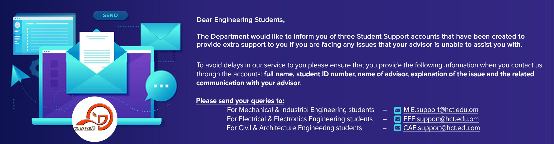 Engineering Department - Email Accounts for Student Support