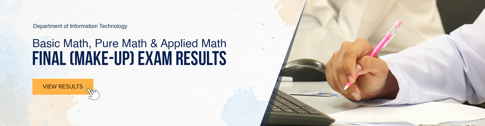 Applied Math, Basic Math and Pure Math - Final Make-up Exam Results