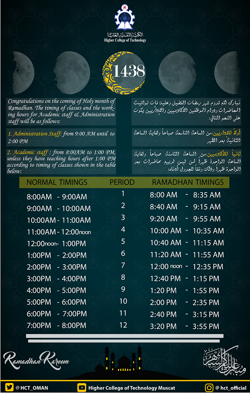 Higher College of Technology - Ramadan Timings