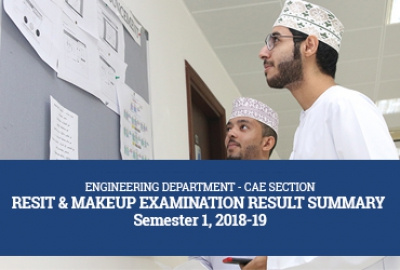 Engineering Department - CAE Section Resit & Makeup Examination Result Summary Semester 1, 2018 - 2019