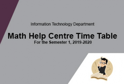 Math Help Centre Time Table for Semester 1, AY 2019-2020