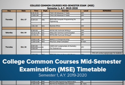 College Common Courses Mid-Semester Exam (MSE) Semester 1, A.Y. 2019-2020