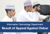 IT Department - Result of Appeal Against Debar