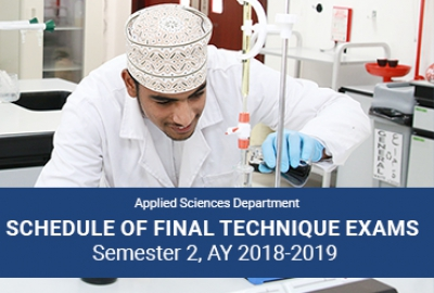 Applied Sciences Department - Schedule of Final Technique Exams, Sem 2 AY 2018-2019