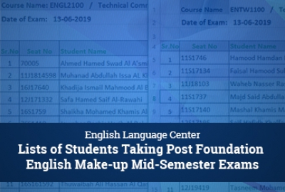 ELC Post-Foundation Program - Make-up Mid Semester Exam Student Lists for Semester 3, 2018-2019