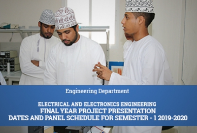 Electrical and Electronics Engineering Final Year Project Presentation Dates and Panel Schedule for Semester-1 2019-2020​