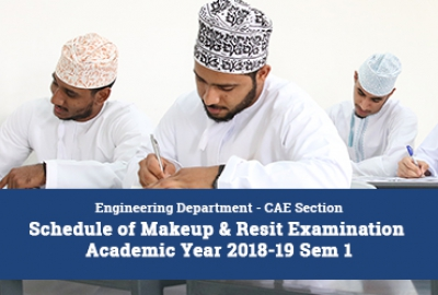 Engineering Department (CAE Section) - Schedule of Makeup & Resit Examination - Academic Year 2018-19 Sem 1