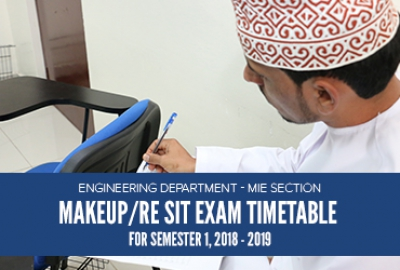 Engineering Department (MIE Section) - Make-up / Re-sit Exam Timetable for Sem 1, 2018-19