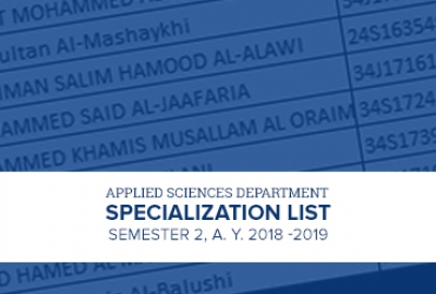 Applied Sciences Department - Specialization List for Semester 2, A.Y. 2018 - 2019