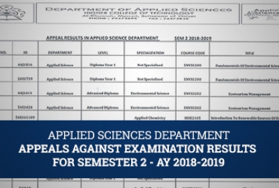 Applied Sciences Department - Appeals Against Examination Results for Semester 2 , AY 2018-2019