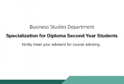 Business Studies Department - Specialization for Diploma Second Year Students