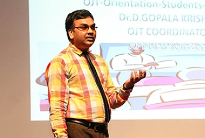 Dr. Gopala Krishna of the Department of Applied Sciences conducted three sessions of orientation programs for both students and staff on the procedures to be followed for on-line registration to OJT during the Summer Semester of the AY 2017-18