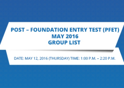 Post –Foundation Entry Test (PFET) May 2016 Group List
