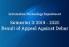 Information Technology Department - Result of Appeal Against Debar